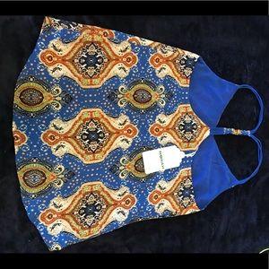 Blue paisley sleeveless top by NORAH